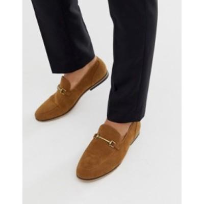 エイソス メンズ スリッポン・ローファー シューズ ASOS DESIGN loafers in tan faux suede with snaffle Tan