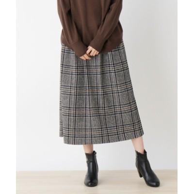 SHOO・LA・RUE / 【フリーサイズ】ウエスト太リブチェックスカート WOMEN スカート > スカート