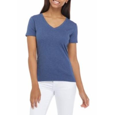トミー ヒルフィガー レディース Tシャツ トップス Women's V Neck Flag T-Shirt Indigo Heather