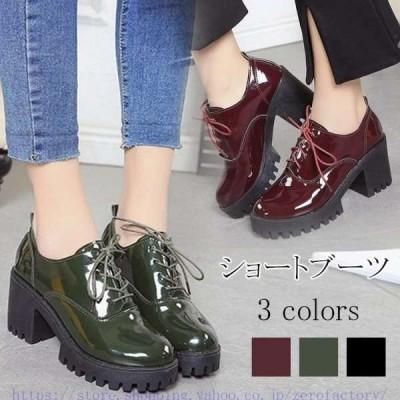 ブーツ PU ショートブーツ オックス インヒール 厚底 ミリタリーブーツ 編み上げ レディース ワーク フェイクレザー 靴 ブラック