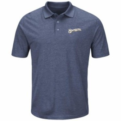 Majestic マジェスティック スポーツ用品  Majestic Milwaukee Brewers Navy Endless Flow Cool Base Polo