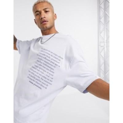 エイソス メンズ シャツ トップス ASOS DESIGN oversized t-shirt with chest text print in lilac Halogen blue