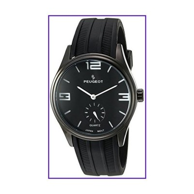 Peugeot Men's Black Steel Case White Rubber Band Sports Driving Racing Watch 2042WBK 並行輸入品