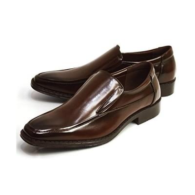 [ジーノ] ビジネスシューズ メンズ ビジネス 幅広 3E 防滑 革靴 紳士靴 靴 シューズ 【A】 ze3011[Dブラウン] 25cm