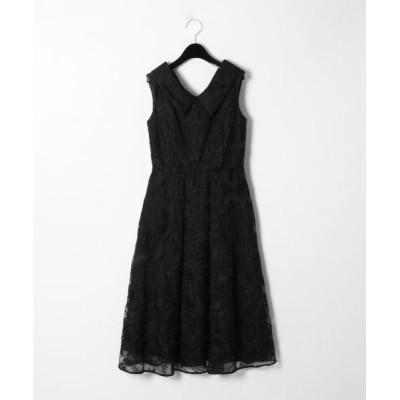 GRACE CONTINENTAL/グレースコンチネンタル オーガン刺繍ドレス ブラック 36