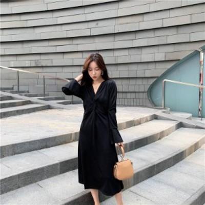 ドレス ワンピース ミドルワンピース 大きいサイズ M~4XL 長袖 無地 Aライン Vネック ひざ下丈ワンピ レディース