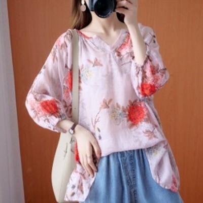 シャツブラウス ブラウス tシャツ 七分袖 レディース 綿麻混風 トップス ゆったり 大きいサイズ プルオーバー 通勤 体型カバー コーデ 花