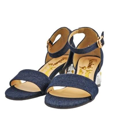 レディース 靴 サンダル ヌーベルヴォーグリラックス フラワーモチーフ チャンキーヒール アンクルストラップサンダル デニムブルー NoubelVoug8094DBLUE