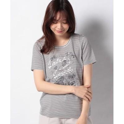 Leilian/レリアン 刺繍ボーダーTシャツ ネイビー9 13