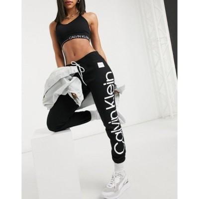 カルバンクライン レディース カジュアルパンツ ボトムス Calvin Klein Performance slim fit rib sweatpants in black Black