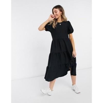 エイソス レディース ワンピース トップス ASOS DESIGN oversized textured midi smock dress in black