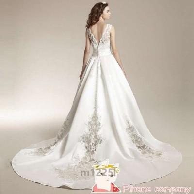 ロングドレス パーティードレス カラードレス 二次会 イブニングドレス ワンピース 同窓会 ホワイト 豪華なウェディングドレス 格安 結婚式ドレス