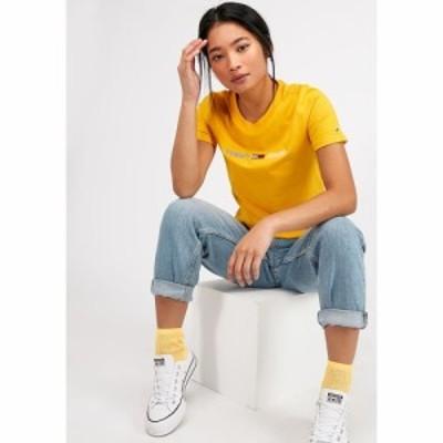 トミー ジーンズ Tommy Jeans レディース Tシャツ トップス Neon Linear Logo T-Shirt Spectra Yellow
