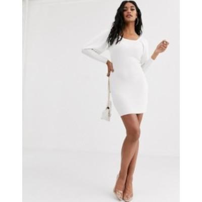 エイソス レディース ワンピース トップス ASOS DESIGN off shoulder knit dress with volume sleeve White