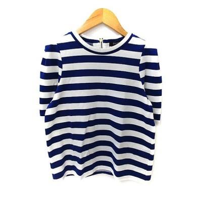 【中古】ディスコート Discoat Tシャツ カットソー ラウンドネック 半袖 ボーダー柄 F 青 ブルー 白 ホワイト /NS31 レディース 【ベクトル 古着】