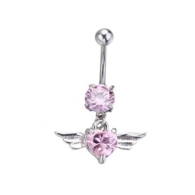 天使の羽ハートへそピアス(ピンク)