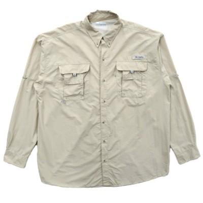 COLUMBIA PFG コロンビア フィッシングシャツ 長袖 ベージュ アウトドア サイズ表記:XL