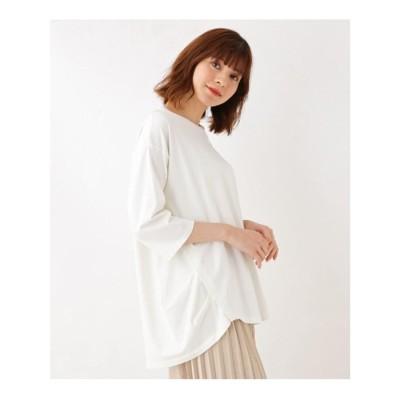 シューラルー SHOO-LA-RUE 【M-LL】スーピマコットンベアサイドタックプルオーバー (ホワイト)