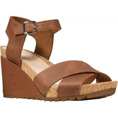 クラークス Clarks レディース サンダル・ミュール ウェッジソール シューズ・靴 Flex Sun Wedge Sandal Tan Leather