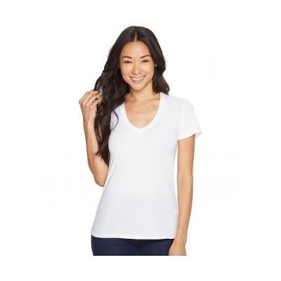 Mod-o-doc モッドオードック レディース 女性用 ファッション Tシャツ Supreme Jersey Fitted S/S V-Neck - White