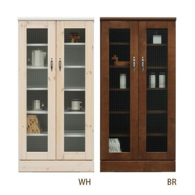 キャビネット ガラス戸 リビング 収納 本棚 (バニラ 60キャビネット WH・BR) ホワイト/ブラウン