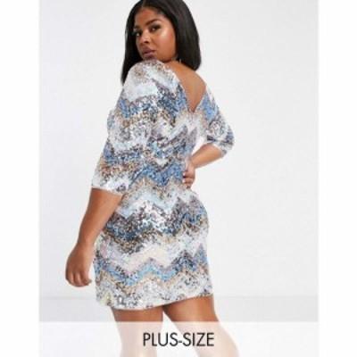 ジェイデッドローズ Jaded Rose Plus レディース ワンピース ミニ丈 Exclusive Plunge Back Sequin Mini Dress Chevron Sequin マルチカ