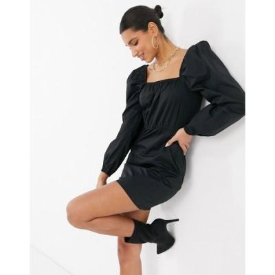 ネイキッド ミディドレス レディース NA-KD puff sleeve square neck mini dress in black エイソス ASOS ブラック 黒