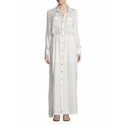 ピュアネイビー レディース ワンピース Button-Front Maxi Shirt Dress