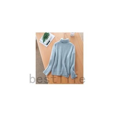 ニットレディースセータータートルネックケーブル編み長袖無地ゆったりプルオーバーアラン模様秋冬インナーセーター厚手