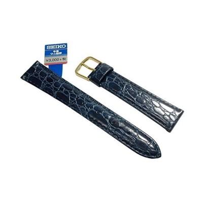 〔セイコー〕SEIKO 時計バンド 18mm DE91 牛革ワニ型押 青 メンズ