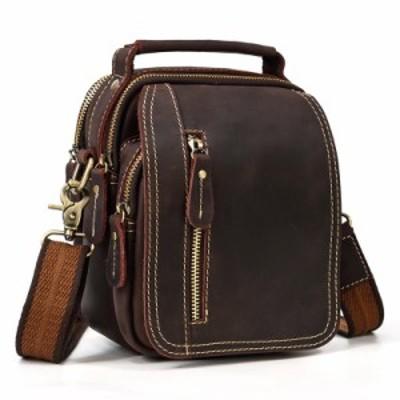 本革 ショルダーバッグ メンズ 牛革 ウエストバッグ 3WAY 斜めがけバッグ カジュアル鞄 ブラウン レトロ プレゼント