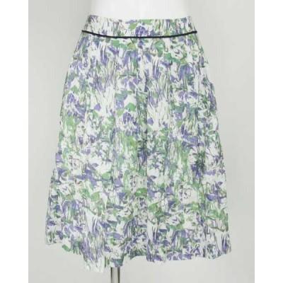 ペルルペッシュ PerlePeche パープルグリーン花柄スカート 36