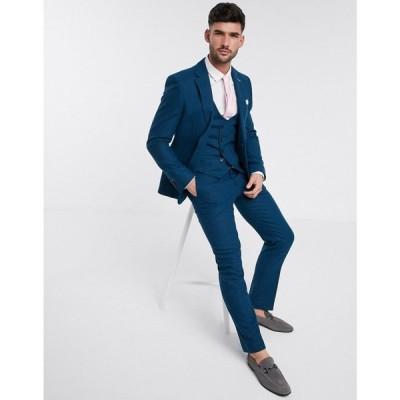 ハリー ブラウン Harry Brown メンズ スラックス ボトムス・パンツ slim fit wedding summer tweed suit trouser ブルー