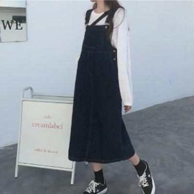 デニム サロペットスカート レディース デニムワンピース ジャンパースカート オールインワン 薄手 ロング丈 体型カバー ゆったり 大きい
