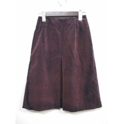 【中古】マカフィー MACPHEE トゥモローランド スカート 36 S 紫 パープル コットン ひざ丈 コーデュロイ USED加工