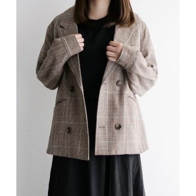 ジャケット テーラードジャケット [charme] loose double check tailored jacket/ルーズダブルチェックテーラー