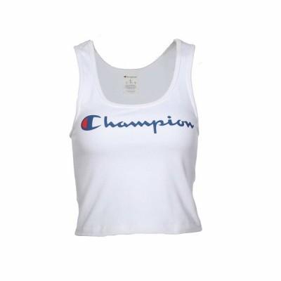 チャンピオン シャツ トップス レディース Chest Script Crop Top White