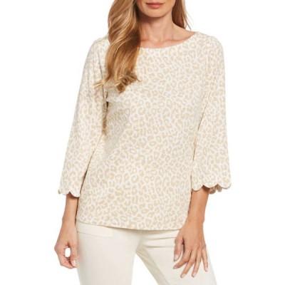 ラファエラ レディース Tシャツ トップス Women's Leopard Print Slub Knit Top