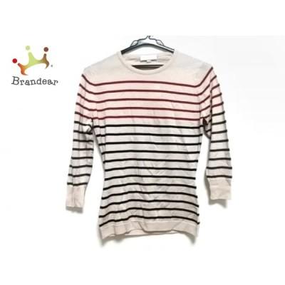 ジョンスメドレー 長袖セーター サイズS レディース 美品 - ベージュ×レッド×黒 ボーダー   スペシャル特価 20210107