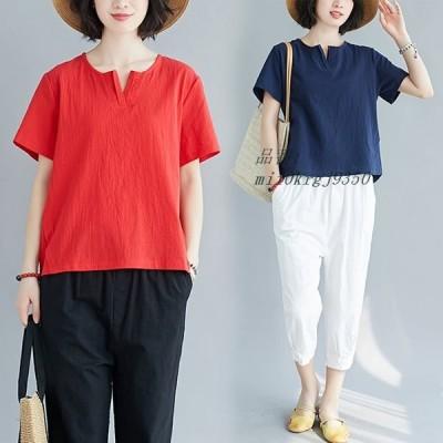Tシャツ トップス 綿麻 きれいめ 着痩せ レディース 新品 おしゃれ 韓国風 大きいサイズ カジュアル Vネック 半袖 体型カバー 夏 40代 安い 無地 半袖tシャツ