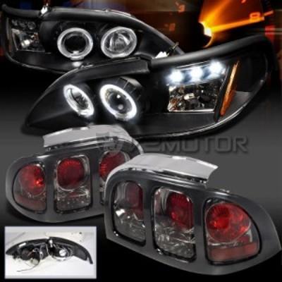 ヘッドライト 94-98 Ford Mustang HaloプロジェクターLEDブラックヘッドライトスモーク  k