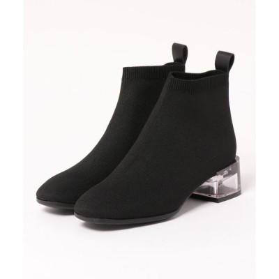 ブーツ クリスタルヒールニットブーツ
