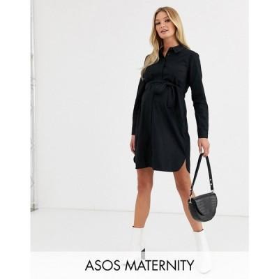 エイソス ASOS Maternity レディース ワンピース マタニティウェア シャツワンピース ASOS DESIGN Maternity cotton mini shirt dress with tie belt ブラック