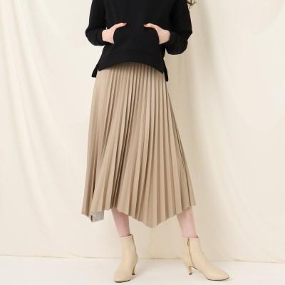 クチュール ブローチ Couture brooch エコレザーイレヘムプリーツスカート (ベージュ)