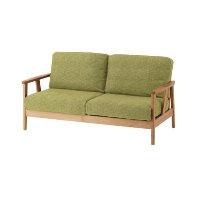 アルダー材の木肘ソファー(2人掛けワイド) ナチュラル×グリーン