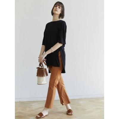Brown&Street (ブラウンアンドストリート) レディース ソフトタッチバックデザインTシャツ ブラック F
