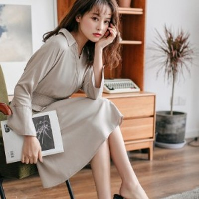 フレアワンピース ひざ丈 体型カバー ウエストギャザー シャツ 大人可愛い ガーリー カジュアル 韓国ファッション トレンド レディース
