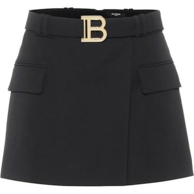 バルマン Balmain レディース ミニスカート スカート Wool-twill miniskirt Noir