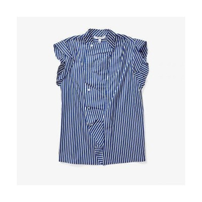 Derek Lam 10 Crosby レディース 女性用 ファッション ブラウス Sleeveless Draped Blouse w/ Asymmetrical Placket - Blue