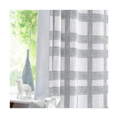 Central Park White Grey Plaid Blackout Window Curtain Linen Buffalo Check G